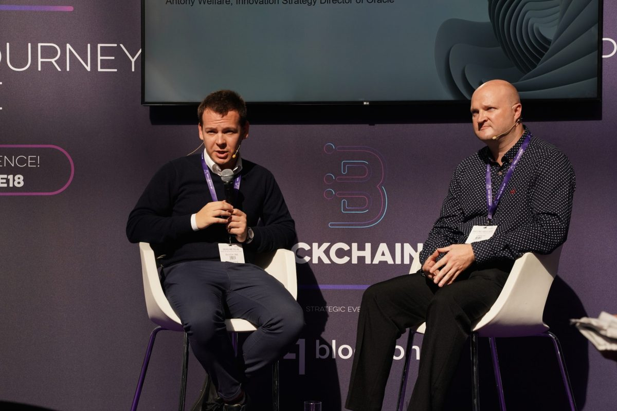 Block.one's Head of Developer Relations Serg Metelin (L) on the blockchain.live stage in London with Oracle's Retail Sales Development Director Antony Welfare. Photo: Asia Times