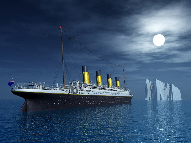 Computer generated 3D illustration  of the Titanic sailing towards an iceberg. Photo: iStock