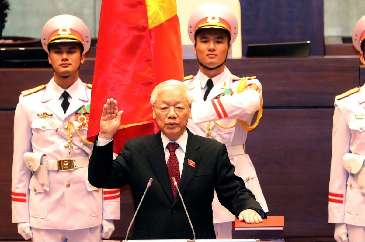 Vietnam communist party chief Nguyen Phu Trong takes oath as country's president at the National Assembly hall in Hanoi on October 23, 2018. Photo: Vietnam News Agency via AFP