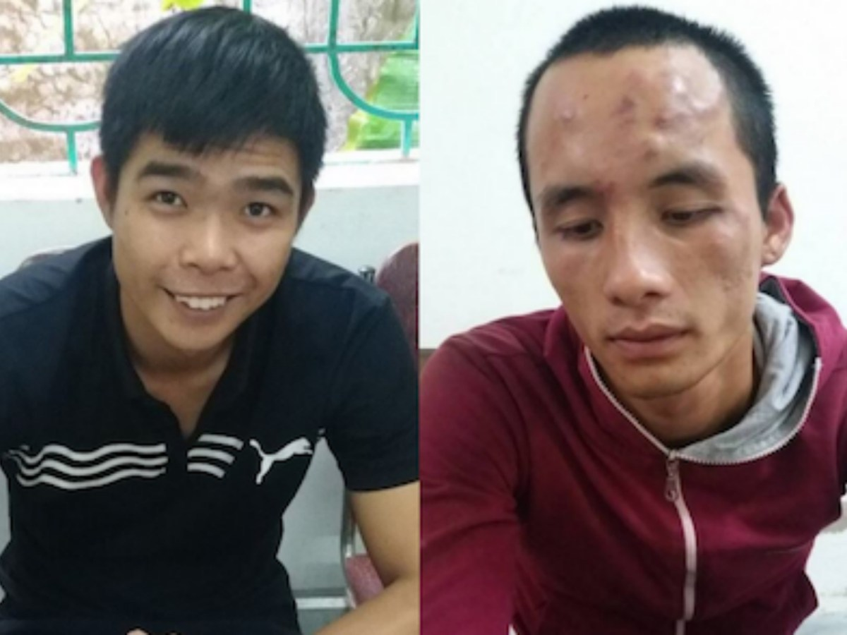 Le Viet Dat (L) and Dang Ba Dat face jail time for property theft and resisting arrest. Photo: Courtesy Nghe An Police.