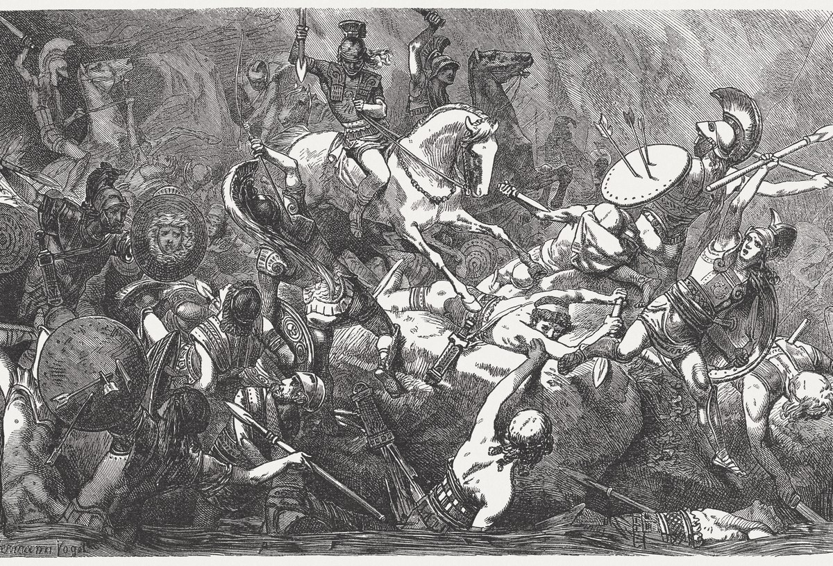 Destruction of the remains of the Athenian army during the Peloponnesian War (431 - 404 BC). Wood engraving after a drawing by Hermann Vogel (German painter, 1854 - 1921), published in 1882. Thucydides Trap.IMage: iStock