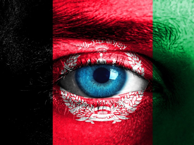 Human face painted with flag of Afghanistan. Image:iStock