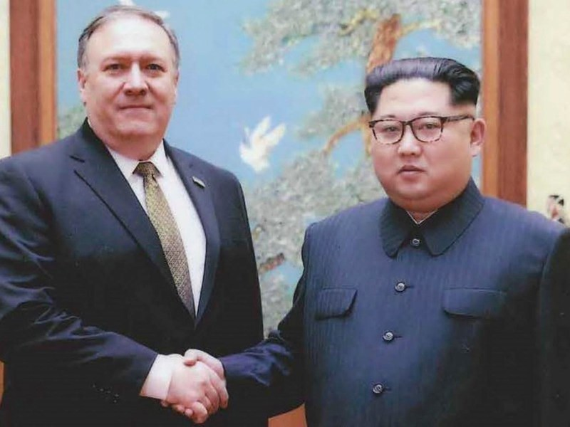 US Secretary of State Mike Pompeo meets with North Korean leader Kim Jong Un in Pyongyang in April. Photo: AFP/US Government