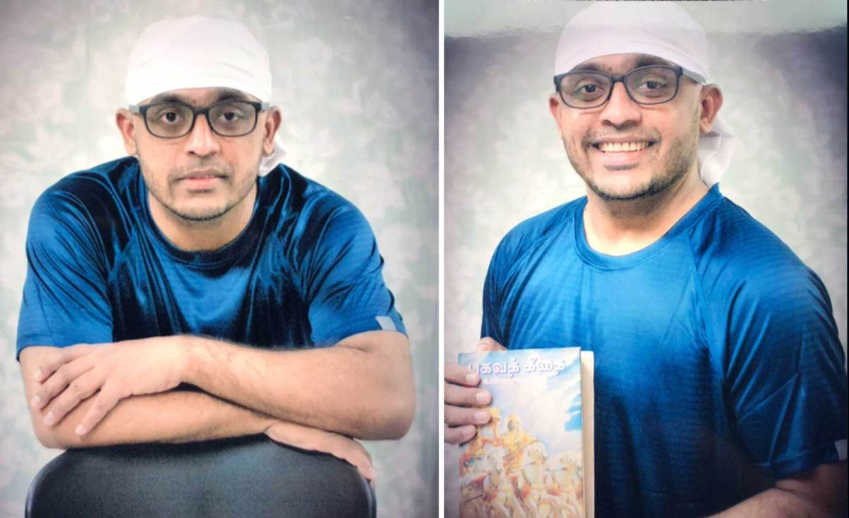 Prabu Pathmanathan in a photo shoot taken by Singapore prison authorities before he was executed. The inmate's family was asked to bring civilian clothes for the photos, which were given to the family. Photo: Twitter