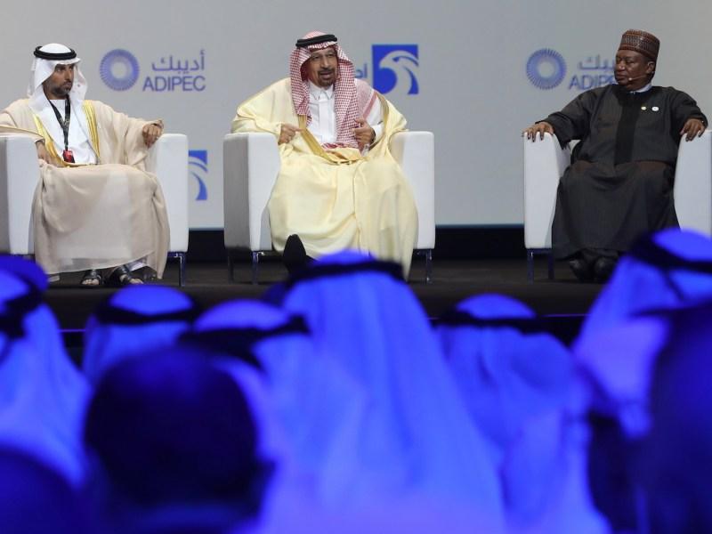 UAE's Energy Minister Suhail Mohammed Faraj al-Mazroui (L), Saudi Energy Minister Khalid al-Falih (C) and OPEC Secretary General Mohammed Barkindo attend the Abu Dhabi International Petroleum Exhibition and Conference (ADIPEC) on November 12, 2018, in the Emirati capital. Photo: Karim Sahib / AFP