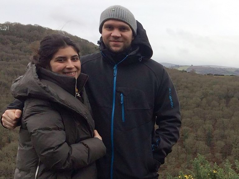 British PhD student Matthew Hedges with his wife Daniela Tejad. Photo: AFP