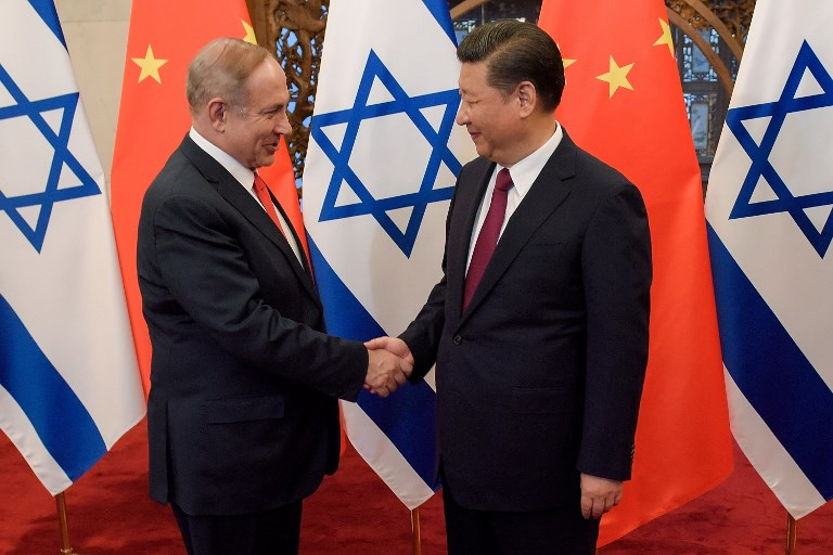 China's President Xi Jinping and Israel's Prime Minister Benjamin Netanyahu. Photo: AFP