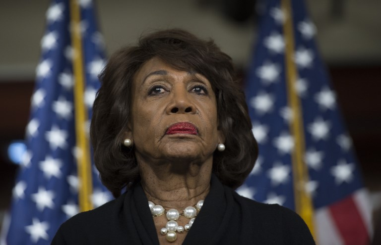 US Representative Maxine Waters looks on before speaking to reporters regarding the Russia investigation. Photo: AFP/Andrew Caballero-Reynolds