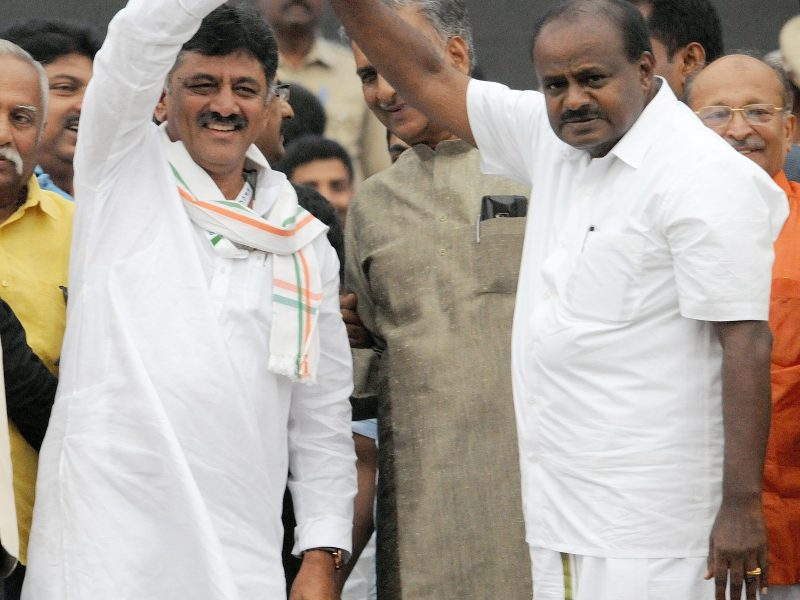 Karnataka Chief Minister H D Kumaraswamy (Right) with Congress party leader D K Shivakumar (Left) defeated the BJP in the by-elections. Photo: AFP/ The Times of India/Narasimha Murthy
