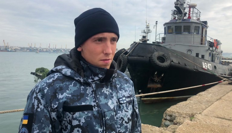 Nikopol Sergey Tsybizov, a sailor from a seized Ukrainian naval vessel, is questioned in Kerch, Russia, on Monday. Image: Russian Federal Security Service