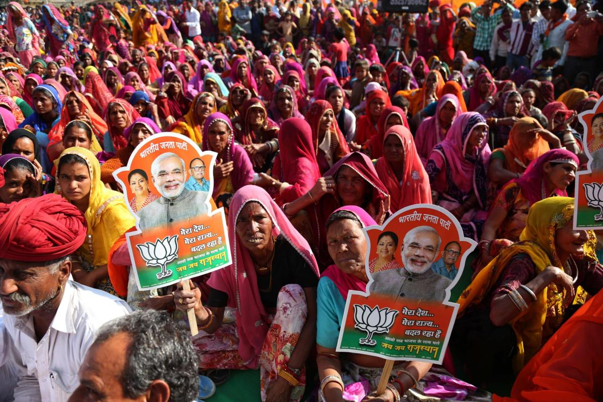 Supporters of Rajasthan Chief Minister Vasundhara Raje listen during a by-election campaign in Ajmer, Rajasthan, India. (Photo by STR/NurPhoto)