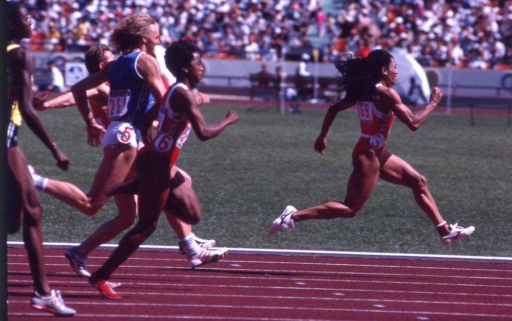 The women's 100m final at the 1988 Seoul games, won by Florence Griffiths-Joyner. Photo: Ron McMillan