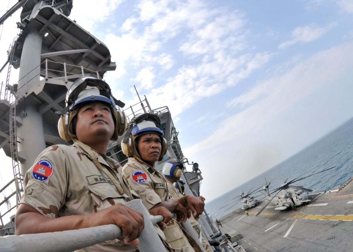 Cambodian naval officers during a sea drill. Photo: Wikipedia
