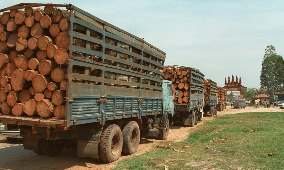去年12月,20輛裝滿木材的貨車柬埔寨巴域(Bavet)邊境的哨站等待過境到越南。 這批原木似乎是「未加工的」,根據柬埔寨法律,出口這些木材是非法的。相片:AFP / Stew Magnuson