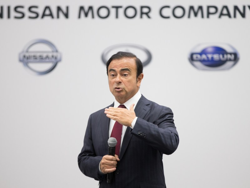 Carlos Ghosn, head of Nissan Motors, speaks to reporters during a press conference at the 2016 North American Auto Show in Detroit. Photo: Geoff Robins / AFP