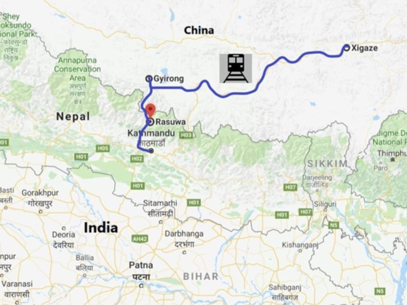 The proposed China-Nepal Railway route. Map Observer Research Foundation