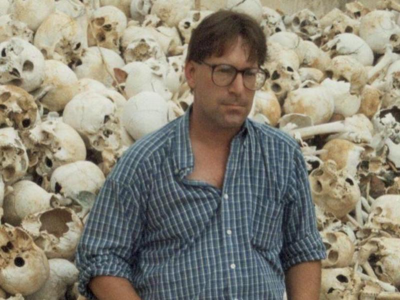 Investigator Craig Etcheson in the early 1990s at a notorious former Khmer Rouge security center near Trapeang Sva village in Trea Commune, Kandal Stung district in Kandal province, just outside Phnom Penh. Photo: Craig Etcheson