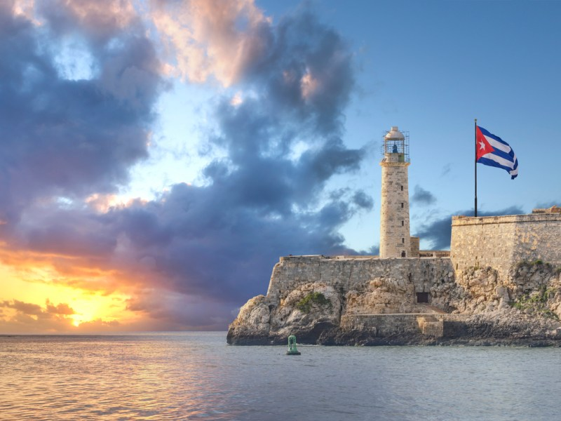 Faro Castillo del Morro is a lighthouse in Havana, Cuba. It was built in 1845 on the ramparts of the Castillo de los Tres Reyes Magos del Morro, an old fortress guarding the harbor of Havana. Photo: iStock