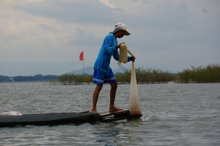 A fisherman on Kwan Phayao. Photo: Philip A Loring