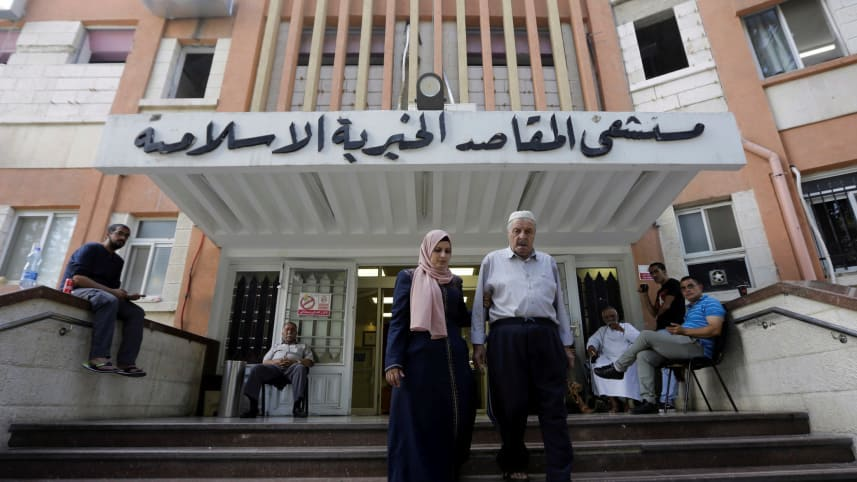 Palestinians leaving Makassed Hospital in East Jerusalem on September 9, 2018. Photo: AP/Mahmoud Illean