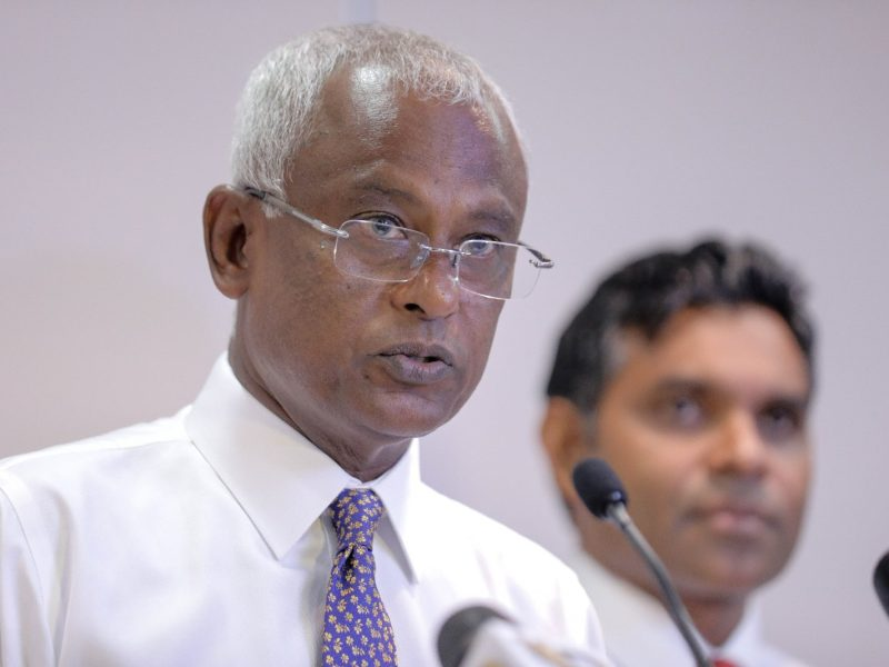Then presidential candidate Mohamed Solih addresses the media at his campaign headquarters in Male, the capital of the Maldives, in September. Photo: AFP