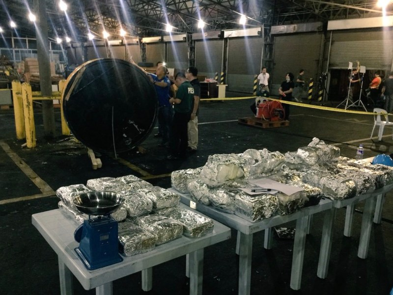 Seized crystal methamphetamine hidden in magnetic lifters at the port in Cavite outside of Manila. Photo: Twitter