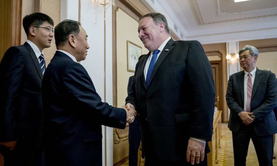 美國國務卿蓬佩奧於今年7月迎接北韓高級官員金英哲。相片:AFP / Pool