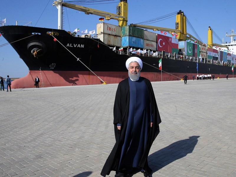 الرئيس الإيراني حسن روحاني يحضر افتتاح ميناء شباهار في 3 ديسمبر/كانون الأول 2017. صورة: الرئاسة الإيرانية/AFP