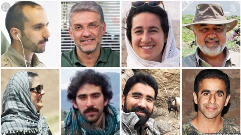 The eight environmentalists from the PersianWildlife Heritage Foundation being held in Iran on charges related to espionage. Photo: ©#anyhopefornature.