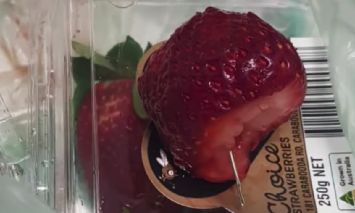 'Needled strawberries' caused a nationwide panic in Australia. Photo captured on Youtube.