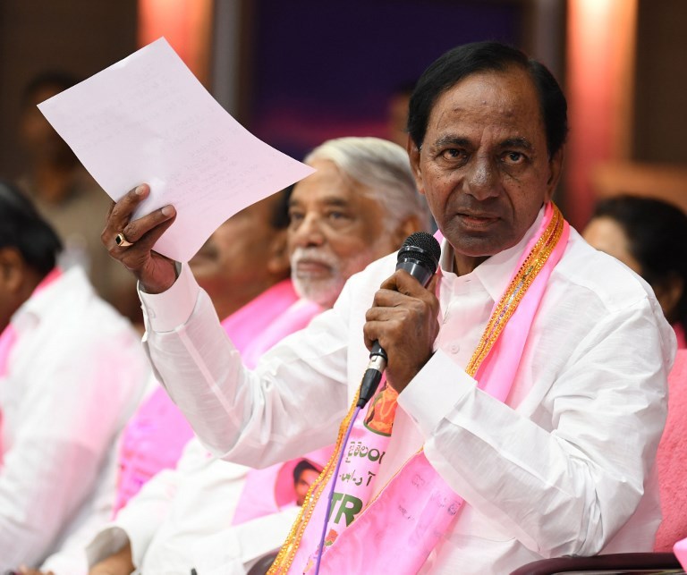 Chief Minister of Andhra Pradesh, K Chandrashekar Rao in Hyderabad, on October 16, 2018. Photo: AFP/Times of India