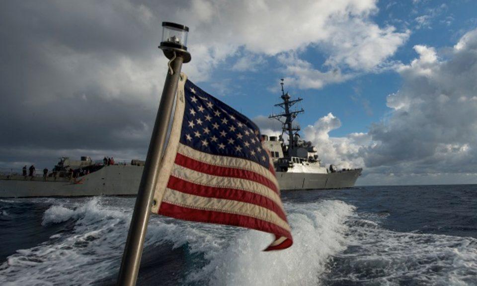 美國在南中國海上的一艘軍艦。相片:Facebook