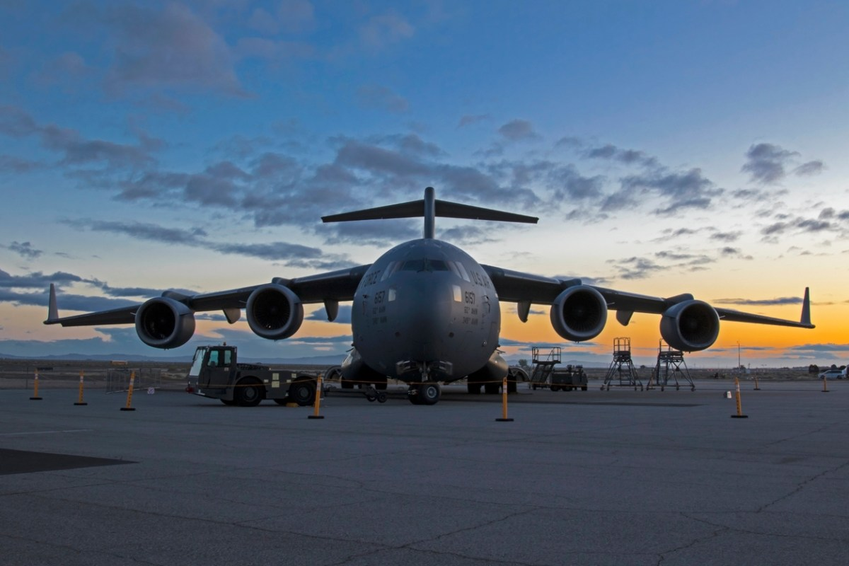 A US C-17 troop transport aircraft is parked at the 2017 Los Angeles Air Show. Photo: iStock