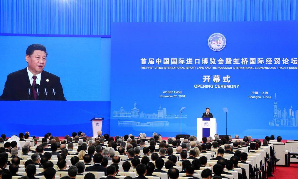 中國國家主席習近平在上海舉辦首屆中國國際進口博覽會開幕儀式上致辭。相片:AFP / Matthew Knight