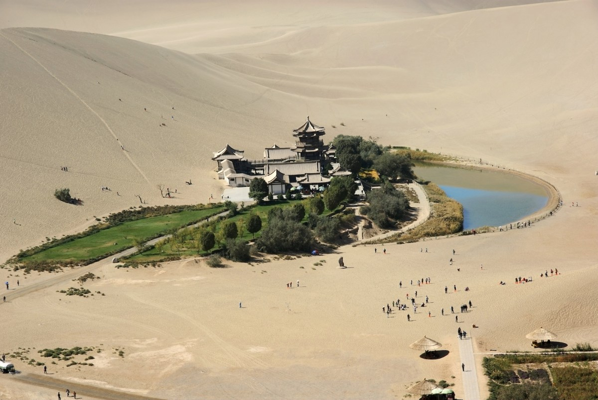 Crescent Moon Lake in the Gobi Desert in Gansu province. Water is more scarce in northern China as rivers and glaciers dry up because of climate change and dams and pollution affect waterways. Photo: iStock