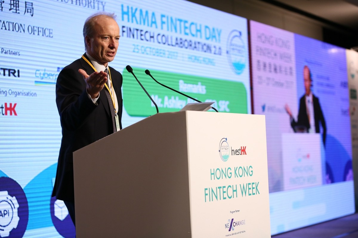 'I am fully aware that many in the FinTech world see regulation as an unnecessary or unwelcome brake on innovation. But what I hope to do ... is to calm some of these concerns,' said Ashley Alder, HK SFC's Chief Executive Officer. Photo: fintechweek.hk