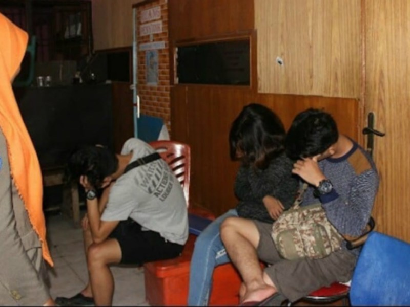 The women were arrested for their alleged sexual orientation. Photo: Courtesy Padang Police@Facebook