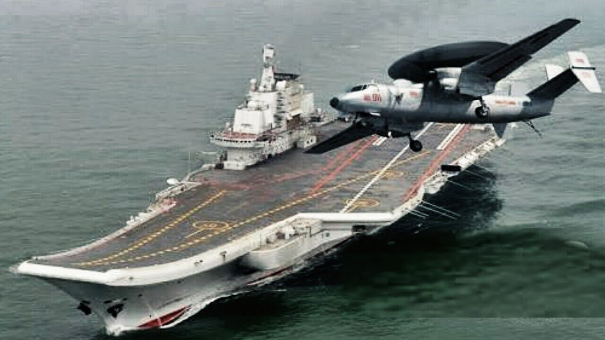 A computer-generated picture showing a KJ-600 AEW plane and the Liaoning carrier. Photo: YouTube