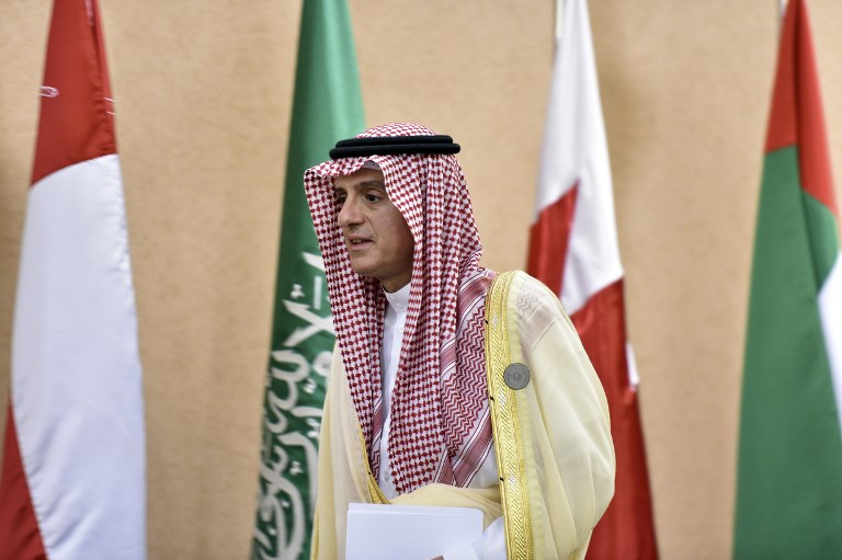 Saudi Foreign Minister Adel al-Jubeir arrives for a press conference at the Diriya Palace in the Saudi capital Riyadh during the Gulf Cooperation Council summit on Sunday. Photo: AFP