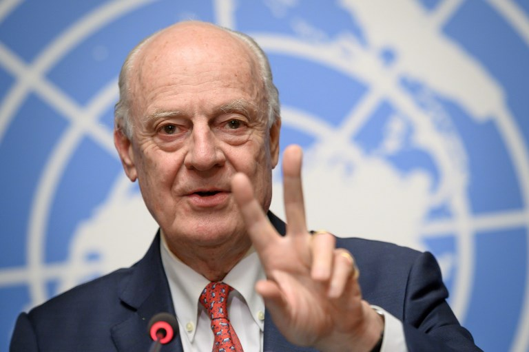 UN Special Envoy for Syria Staffan de Mistura speaks after a meeting in Geneva on Tuesday. Photo: AFP