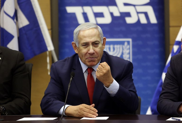 Israeli Prime Minister Benjamin Netanyahu speaks at the Knesset in Jerusalem on Monday. Photo: AFP