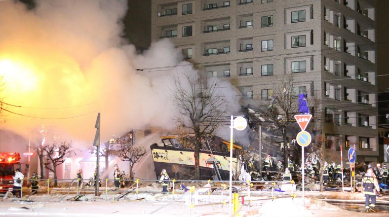 A gas explosion occurs at a restaurant in Sapporo City at around 8:30 pm on Sunday. Photo: AFP