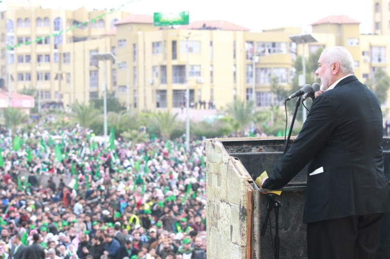 Hamas leader Ismail Haniya addresses a rally in Gaza City on Sunday. Photo: Majdi Fathi/NurPhoto