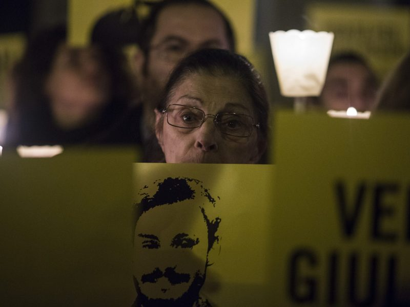 Amnesty International flashmob in front of Italian Parliament to remember the killing of Giulio Regeni, Rome, January 25, 2018.Hundreds of people gathered to mark two years since the death of italian student Giulio Regeni who was abducted and tortured to death in Egypt two years ago.The death of the Italian student has caused a serious diplomatic crisis between Italy and Egypt while the names of his murderers are still unknown. Photo: Christian Minelli/NurPhoto
