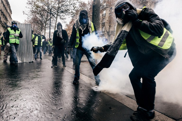 """Yellow vest"" demonstrators in Paris on Saturday. Photo: AFP"