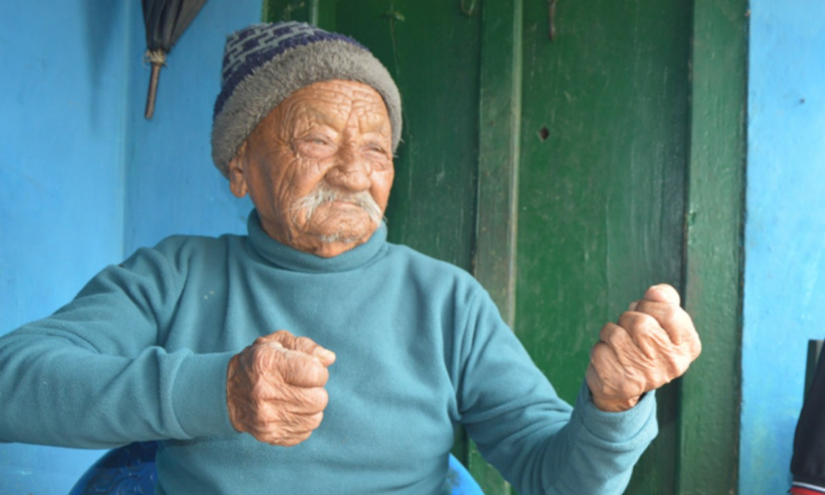 A 100-year-old WWII veteran in Nepal tells his story. Photo: Tim I Gurung