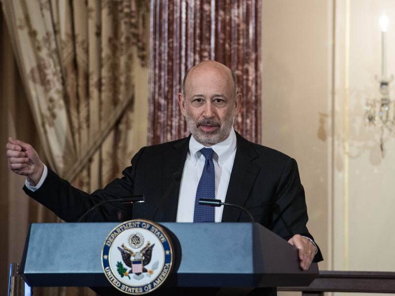 Goldman Sachs' former CEO Lloyd Blankfein speaks at a State Department event in 2015. The Mahathir government hit the US bank with charges this week over the 1MDB scandal. David Solomon has now taken over as CEO. Photo: AFP / Nicholas Kamm