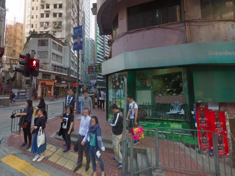 The car mounted the kerb and crashed into the coffee shop in Sheung Wan, Hong Kong Island Photo: Google Maps