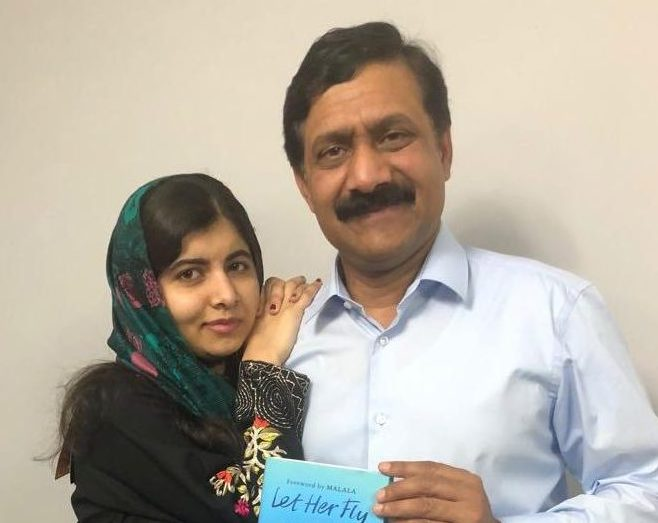 Malala Yousafzai with her father Ziauddin, who recently launched his book 'Let Her Fly' based on her rise to become an activist for girls' education and his struggle in a patriarchal society. Twitter @Malala