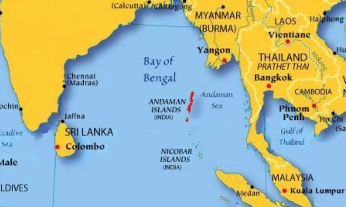 The Andaman and Nicobar Islands in regional relief. Map: Facebook